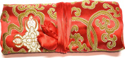 Red Gold Silk Abstract Print Make Up Bag/ Wrap /Jewellery Roll