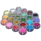 Ardisle 24 Colours Glitter Dust Powder Set - Nail Art Tips Decoration / Crafts / DIY