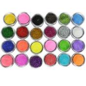 Ardisle 24 Colours Glitter Dust Powder Set for Decoration Crafts DIY Wine Glass Card Art