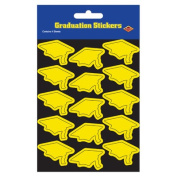 Beistle 54055-Y Grad Cap Stickers Yellow - Pack Of 12