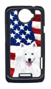 Carolines Treasures SC9023HTCONE USA American Flag With American Eskimo HTC One X Cell Phone Cover