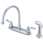 Kingston Brass KB8791NFLSP Double Handle 20cm . Centerset Kitchen Faucet with Matching Sprayer