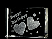 Asfour Crystal 1162-70-19 2.75 L x 2 H x 1 W in. Crystal Laser-Engraved Happy Birthday Love & Hearts Laser-Cut