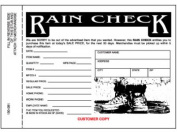 Centurion 100081 3 Part Rain Cheque - 25 Pack