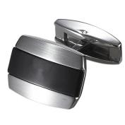 Caseti CACL005 Caseti Racer Black Stripe Stainless Steel Cufflinks