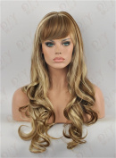 THZ Long Curly Mix Brown Blonde Women's Hair Wig