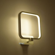 Modern Square White Aluminium Frame 15W LED Bedroom Wall Light Mirror Front Wall Sconce Creative Stair Corridor Wall Lighting Fixtures
