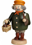 German incense smoker mushroom gatherer, height 19 cm / 8 inch, original Erzgebirge by Seiffener Volkskunst SV 12664