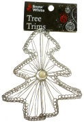 PACK OF 6 - 10cm SILVER TREE Christmas Tree Trim PM142