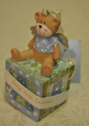 Baby Boy 1st Christmas Angel Bear Sitting on an ABC Blocks - Hanging decoration - Festive Christmas Tree Decorations - Babies First Christmas