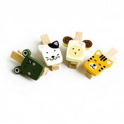 Blancho Bedding WC002-B Cute Animals-2 - Wooden Clips - Wooden Clamps - Mini Clips