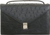 Aryana Rina6-Bk Chic Black Ostrich Texture Structured Single Strap Womens Handbag