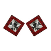 Vera & Co. Inc. 2S-6145SICL Sterling Silver Stud Ferido Crystal Square Earring-Red and White