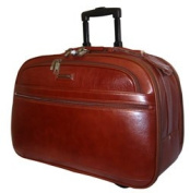 K-Cliffs Full Grain Leather Carry-On Rolling Briefcase 21 x 35cm x 25cm . Brown
