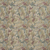 Designer Fabrics D569 140cm . Wide Burgundy And Green Floral Leaf Tapestry Upholstery Fabric