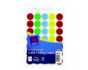 Avery Circle Removable See-Through Colour Dot Label - Pack 1015