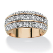 PalmBeach Jewellery 231067 1.68 TCW Round Cubic Zirconia Triple Row Anniversary Ring in 14k Gold-Plated Size 7