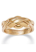 PalmBeach Jewellery 458588 14k Yellow Gold-Plated Interwoven Puzzle Ring Size 8