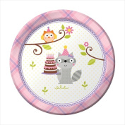 Creative Converting 415671 Happi Woodland - Girl 18cm . Lunch Plates - Case of 96