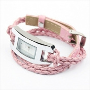 Best Desu 17325 Handmade Leather Bracelet Watch Pink