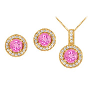 Fine Jewellery Vault UBUNERPD32336AGVYCZPS600 September Birthstone Pink Sapphire with CZ Halo Earrings and Pendant in 18K Yellow Gold Vermeil