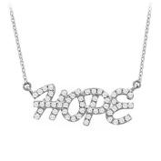 Fine Jewellery Vault UBNPD32221W14D 14K White Gold Diamond Hope Pendant Necklace 0.33 CT TDW