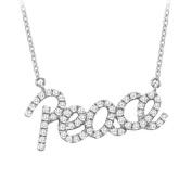 Fine Jewellery Vault UBNPD32222W14D 14K White Gold Diamond Peace Pendant Necklace 0.33 CT TDW