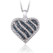 Lion Jewellers PBR14008M3 0.50 Carat TDW Blue & amp; White Diamond Striped Heart Necklace