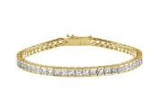 Fine Jewellery Vault UBBRAGVYSQCH400CZ Tennis Bracelet Princess Cut CZ Tennis Bracelet Four Carat Set in 18K Yellow Gold Vermeil