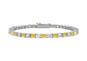 Fine Jewellery Vault UBBR14WRD131300CZYS 14K White Gold Created Yellow Sapphire and Cubic Zirconia Prong Set Tennis Bracelet 3