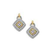 Fine Jewellery Vault UBNER40888TT14D April Birthstone Diamond Square Earrings in Two Tone Gold 0.75 CT TDW
