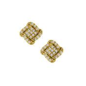 Fine Jewellery Vault UBNER40835Y14D April Birthstone Diamond Squarish Earrings in 14K Yellow Gold 0.50 CT TDW