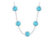 Fine Jewellery Vault UBYBT36750014W36 Created Blue Topaz By the Yard Necklace 75 Carat TGW in 14K White Gold Complete Yard Len