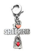Whimsical Gifts 3820S I Love Shopping Charm Dangle Silver