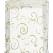 Deluxe Small Business Sales 54-1215-STRS 30cm x 38cm . Stars Frosted High Density Merchandise Bags Gold