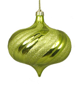 NorthLight 4 ct. Shiny Green Kiwi Glitter Swirl Shatterproof Onion Christmas Ornaments - 15cm .