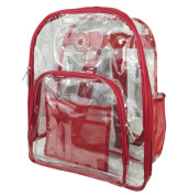 Harvest LM213 Red Deluxe 17 in. See-through Clear 0.5 mm. PVC Backpack