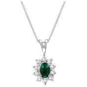Luis Creations PA102ED 0.35 Ct. Diamond And Emerald Pendant 14K Gold
