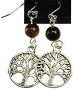 AzureGreen JETTE Tigers Eye Tree Of Life Earrings