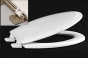 Centoco 900BN-001 White Premium Moulded Toilet Seat With Brushed Nickel Hinges