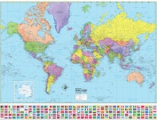 Universal Map 29183 Advanced Political World Laminated - Rolled Map 120cm x 90cm .