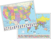 Universal Map 29821 120cm x 90cm Advanced Us World Physical Paper - Rolled Maps