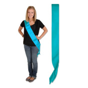 Beistle 60199-T Satin Sash Turquoise - Pack Of 6