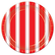 Beistle 58046 Red & White Stripes Plates 23cm . Pack Of 12