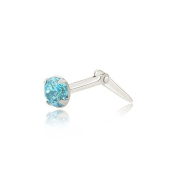 Sterling silver 3mm round aqua cubic zirconia cz Andralok nose stud