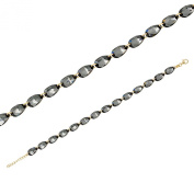 Monella Bracelet 925/1000 Rhodium-Plated with. Elements-Blue and Black