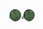 Wedding Cufflinks with Gift Box Round Colour Design - Groom