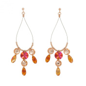 Monella Earrings - 925/1000 Rhodium-Plated with. Elements ambrées-Red