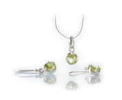 PERIDOT Semi Precious Stone and 925 STERLING SILVER Jewellery Set Pendant Necklace and Earrings