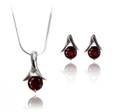 Cherry Pendant And Earrings Jewellery Set Pure 925 STERLING SILVER with Semi Precious GARNET Stone